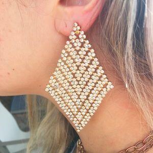 Kirks Folly Earrings Huge Runway Mesh & Crystal